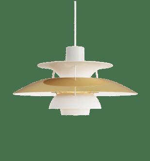 Lampara PH 5 del diseñador danés Poul Henningsen.